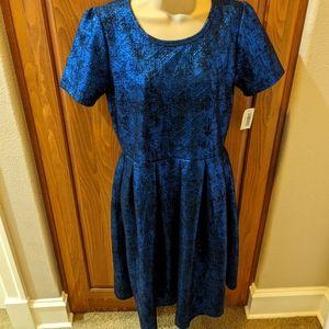 LuLaRoe Elegant Metallic Blue Amelia Dress NWT